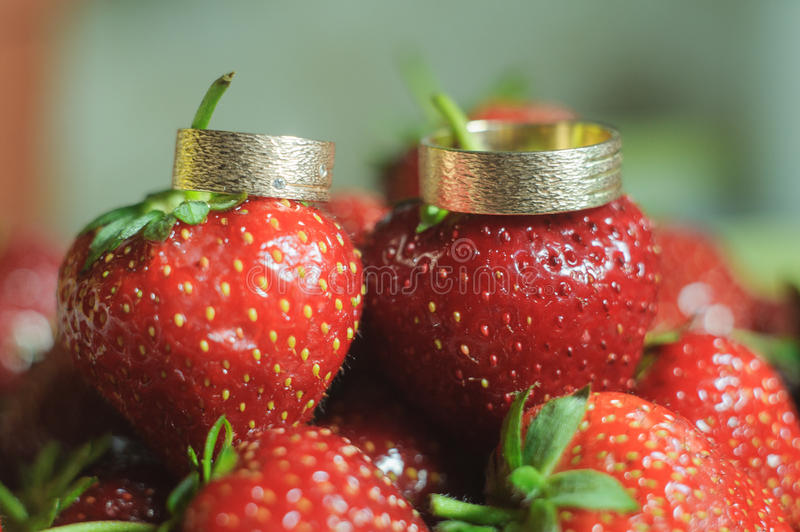 Wedding rings. Beautiful Wedding rings for groom and bride with strawberry stock image