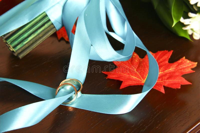 Wedding rings on a blue ribbon stock photography
