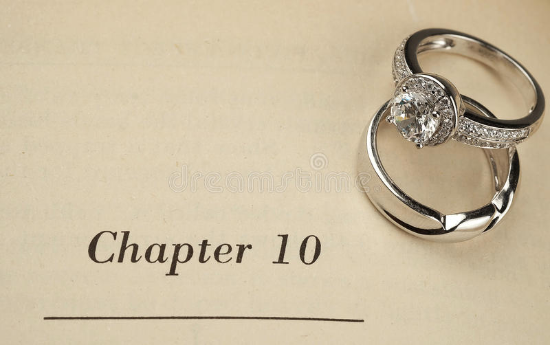 Wedding rings on book stock image Image of bridal gift 67453165