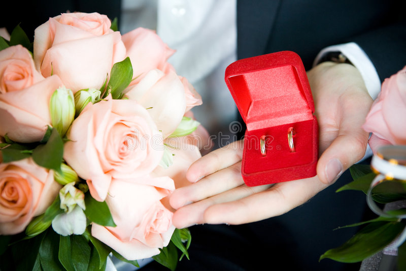 Download Wedding rings and bouquet stock image. Image of gold, offer - 8189531