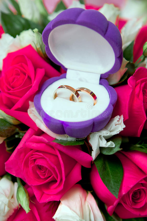 Download Wedding rings in a box stock photo. Image of beads, flower - 19463080