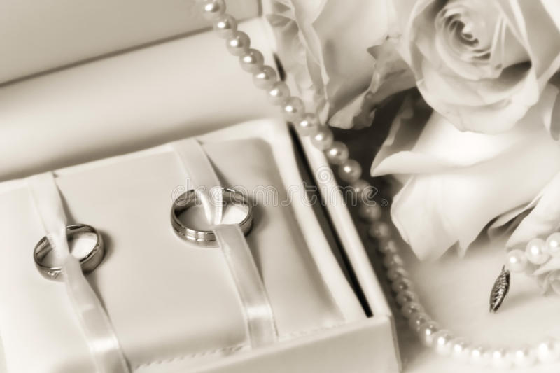 Download Wedding Rings In A Box With Bouquet Stock Photo - Image: 19221344