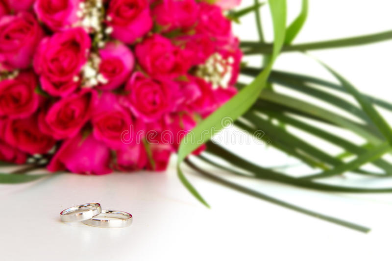Download Wedding Rings And Bridal Bouquet Isolated Over Whi Stock Image - Image: 31112439