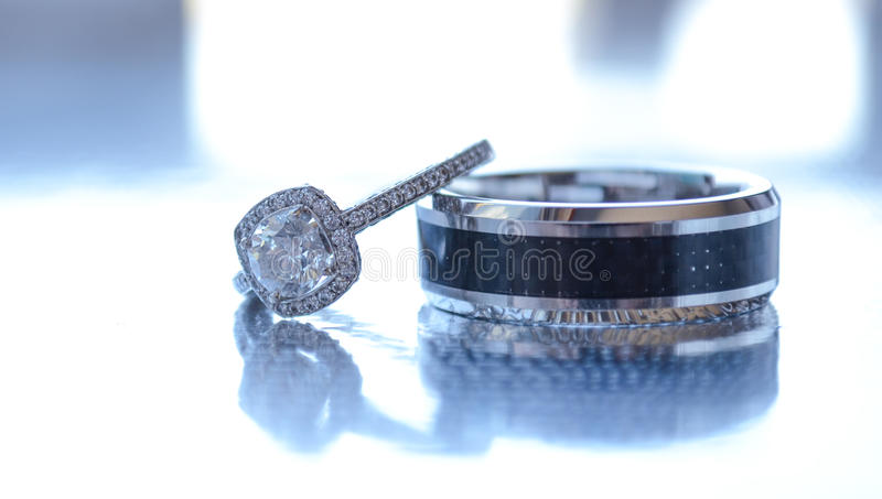 Wedding Rings. A bride and groom's wedding rings royalty free stock photography