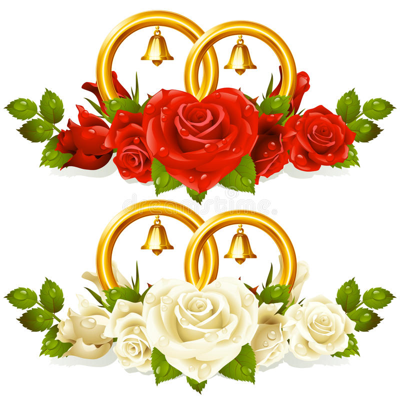 Download Wedding Rings And Bunch Of Roses Stock Image - Image: 15670761