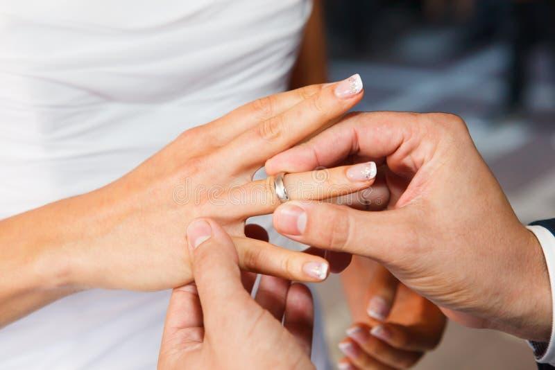 Wedding rings closeup stock photo