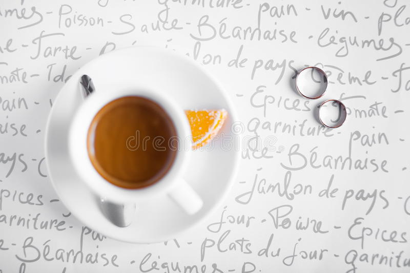 Wedding Rings And Coffee Cup Stock Photos