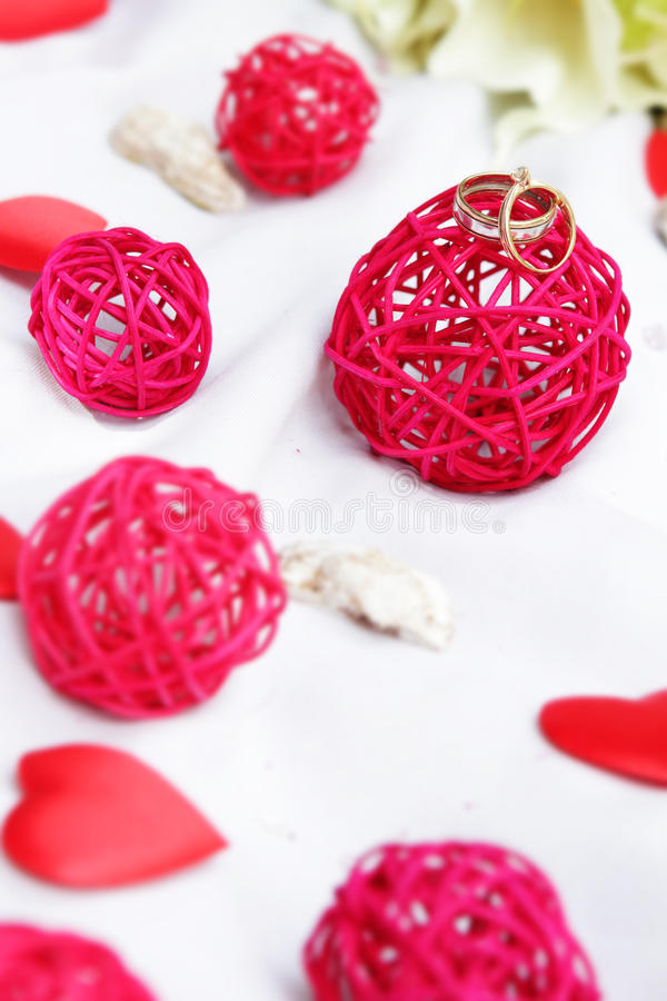 Download Wedding Rings, Decoration And Bridal Bouquet Over White Stock Image - Image: 31112675