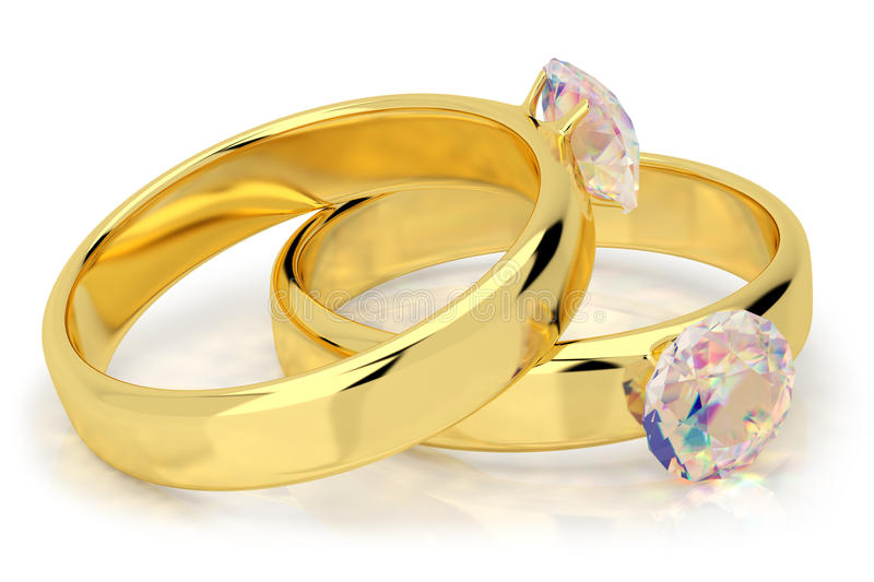 Wedding rings with diamond. 3d image. On a white background stock illustration