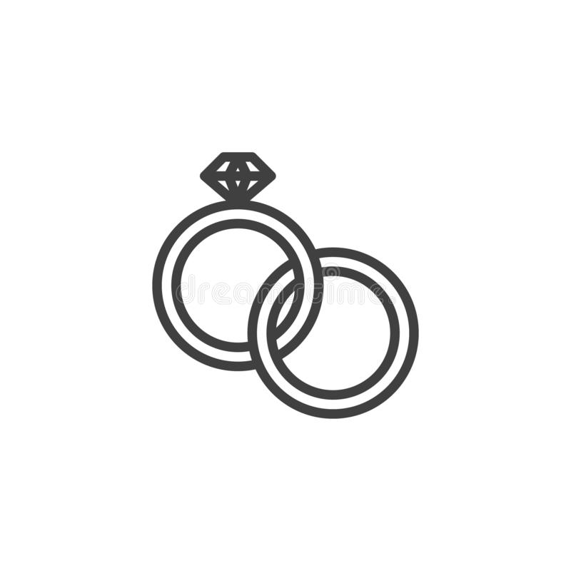 Wedding Rings With Diamond line icon. Linear style sign for mobile concept and web design. Couple engagement rings outline vector icon. Symbol, logo vector illustration
