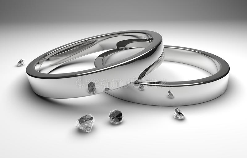 Wedding rings with diamond. Rendering white silver wedding rings wiht diamond royalty free illustration