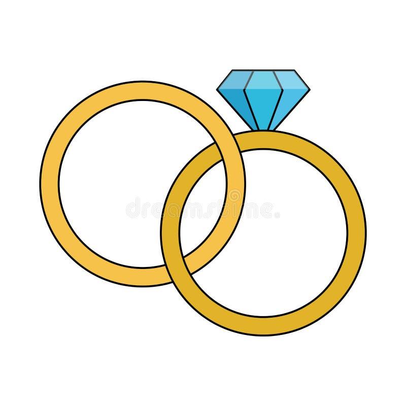 Wedding rings with diamond. Vector illustration graphic design stock illustration