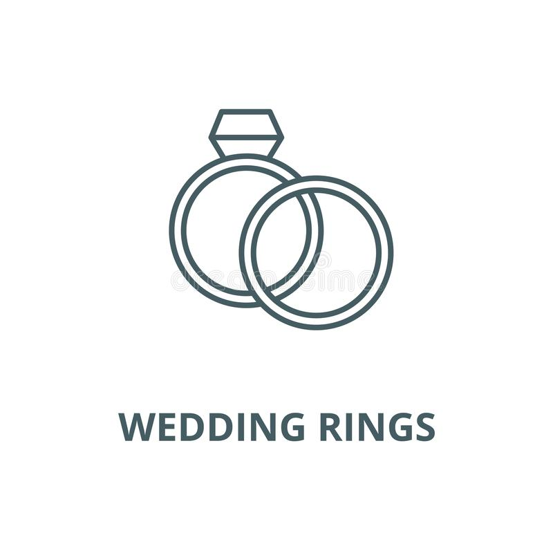 Wedding rings with diamond vector line icon, linear concept, outline sign, symbol. Wedding rings with diamond vector line icon, outline concept, linear sign vector illustration