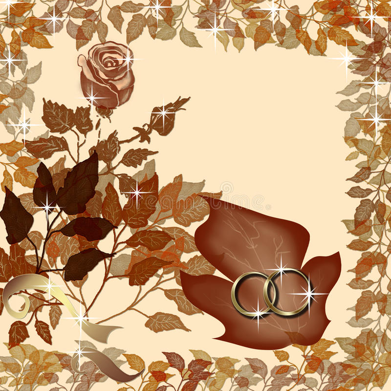 Wedding rings on floral background. Rose, leaves and wedding rings vector illustration