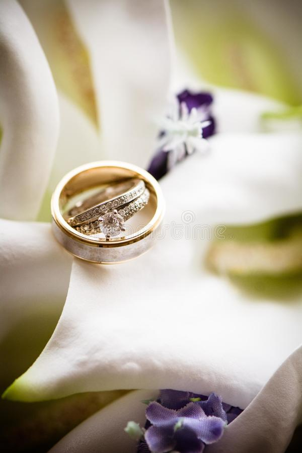 Wedding rings on floral royalty free stock photography
