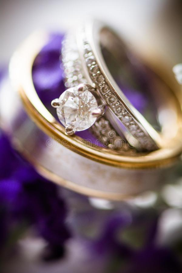 Wedding rings on floral royalty free stock photo