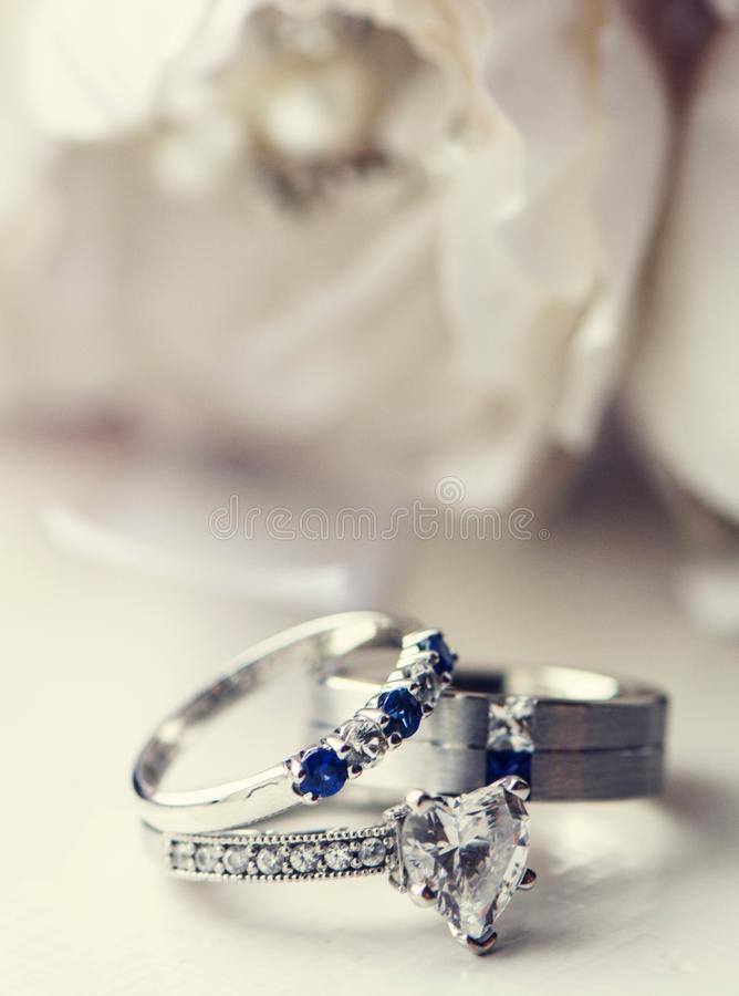 Wedding rings on floral royalty free stock image