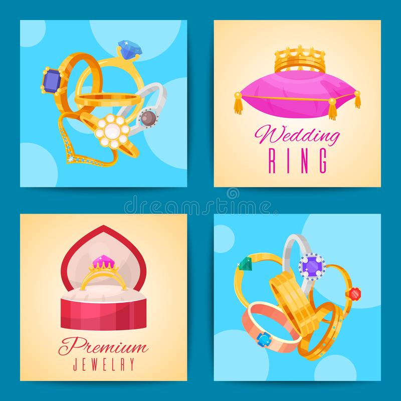 Wedding rings gold and silver metal cards vector illustration. Jewelry diamond ceremony gemstone present. Fashion. Wedding rings gold and silver metal card royalty free illustration