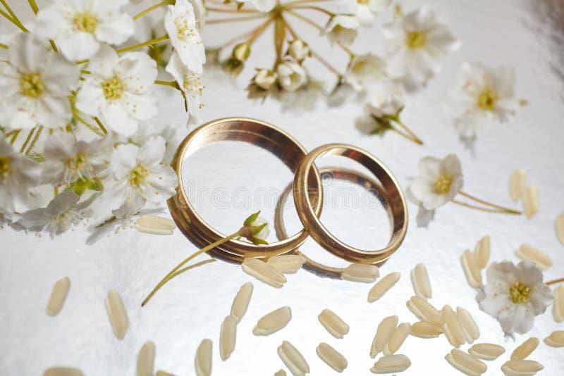 Wedding rings. Gold wedding rings top view royalty free stock photo