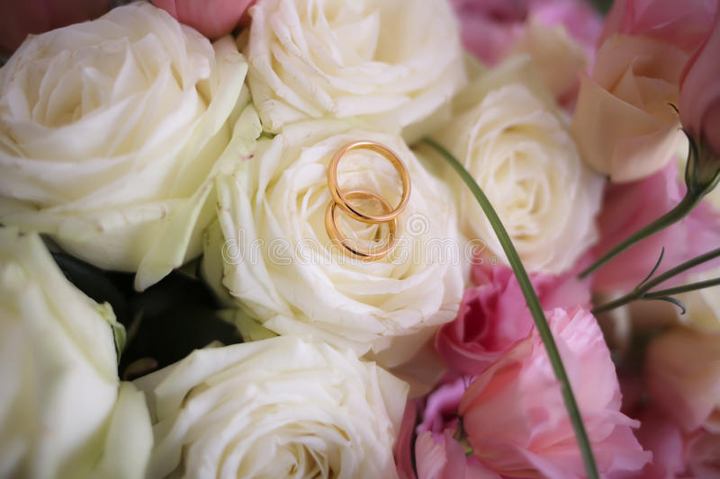 Wedding rings. Golden wedding rings ready for marriage royalty free stock images