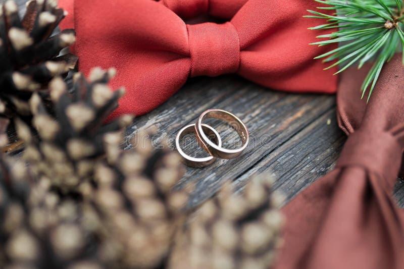 Wedding rings on the groom tie royalty free stock photo