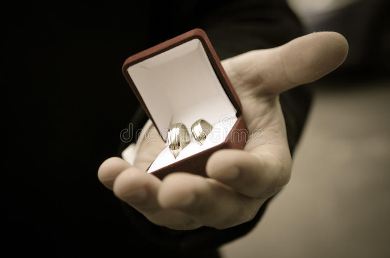 wedding rings in hands