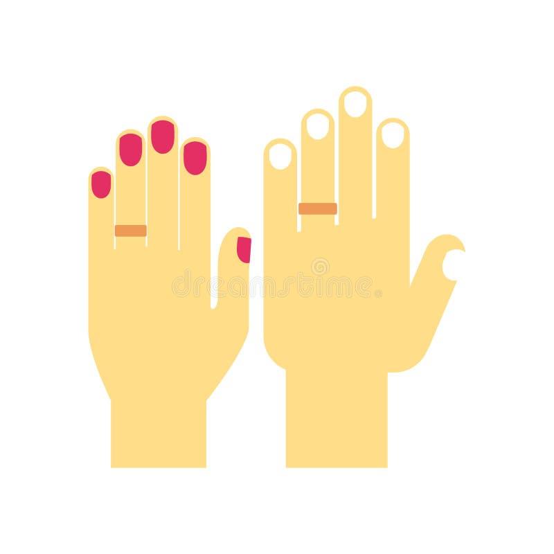 Wedding hands in rings stock illustration