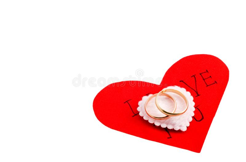 Wedding rings on the heart