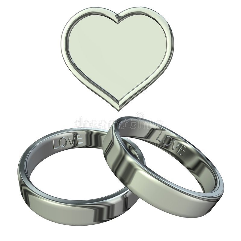 Wedding rings with heart stock illustration
