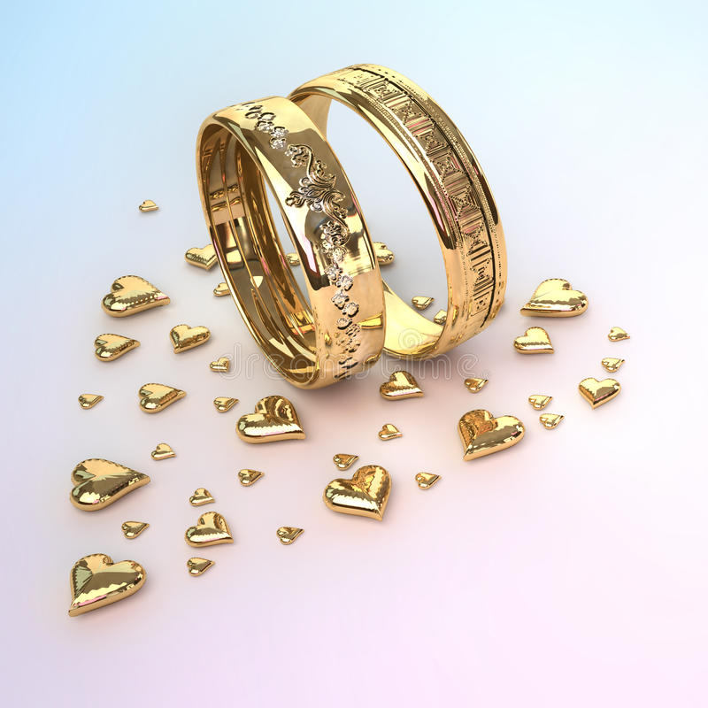 Wedding rings with hearts royalty free illustration