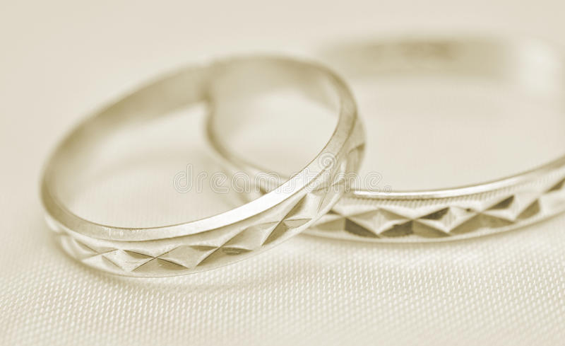 Wedding rings macro stock photo