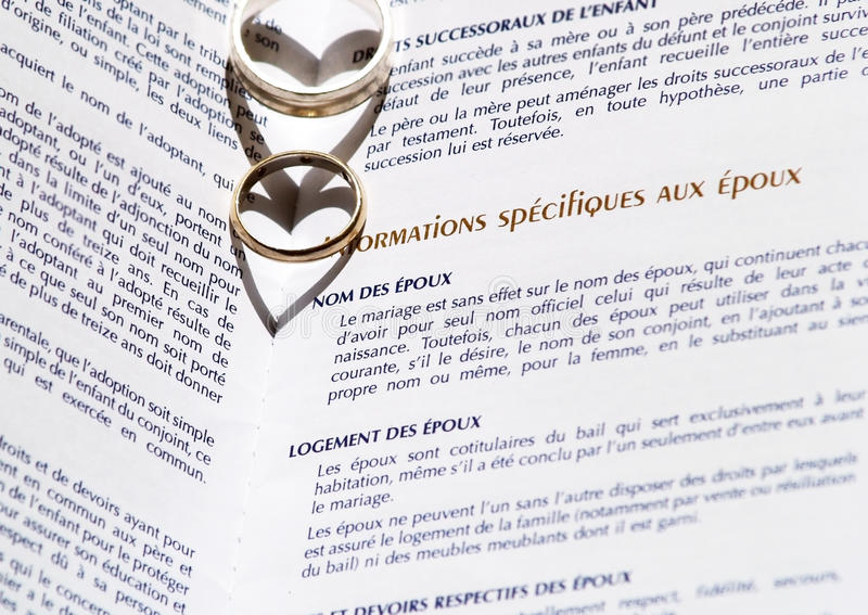 Wedding Rings and Marriage Certificate stock photo