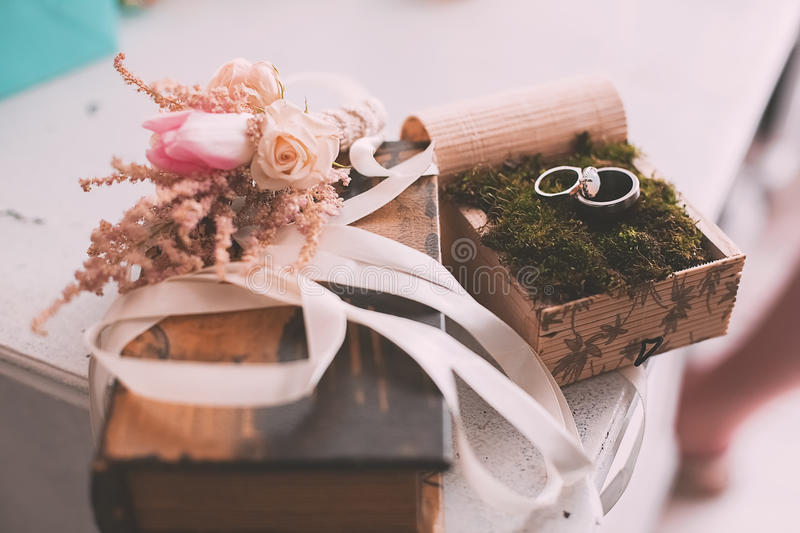 Wedding rings on moss on table. In light royalty free stock photography