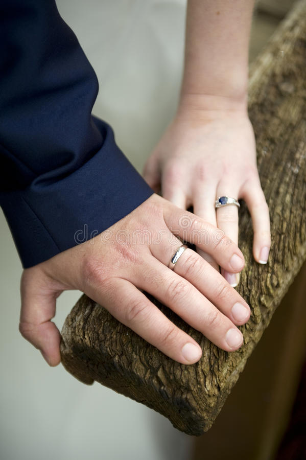 Wedding rings of a newlywed couple royalty free stock photography