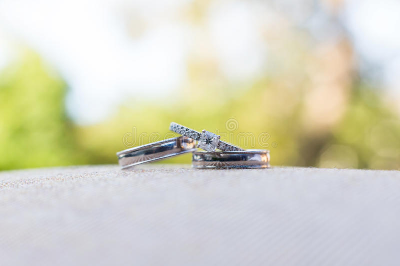 Wedding rings. At outside wedding stock photography