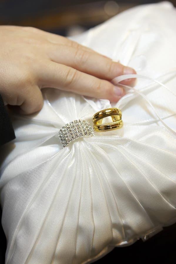 Wedding Rings on Ring Bearer Pillow royalty free stock photo