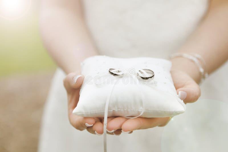 Wedding Rings On Ring Pillow Stock Photo Image of fashion