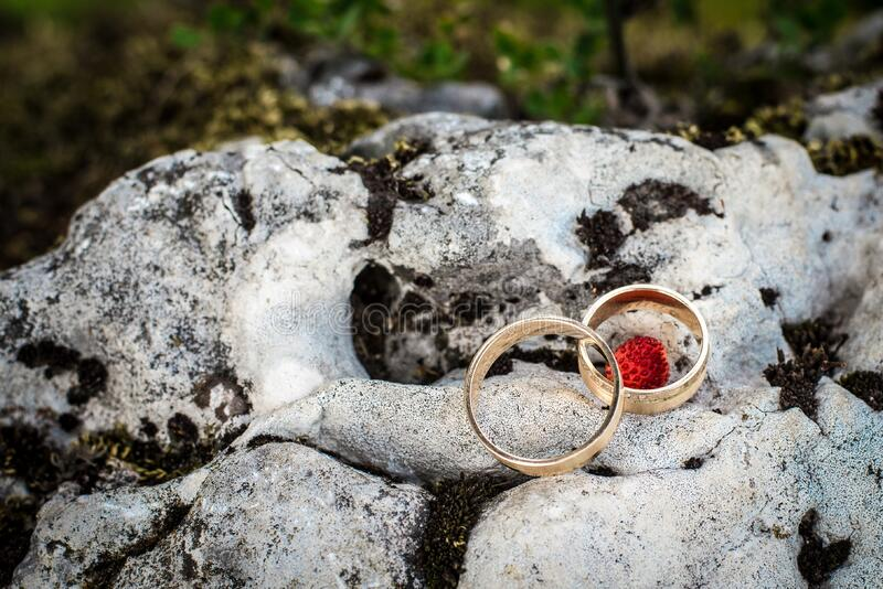 Wedding rings on rock royalty free stock photography
