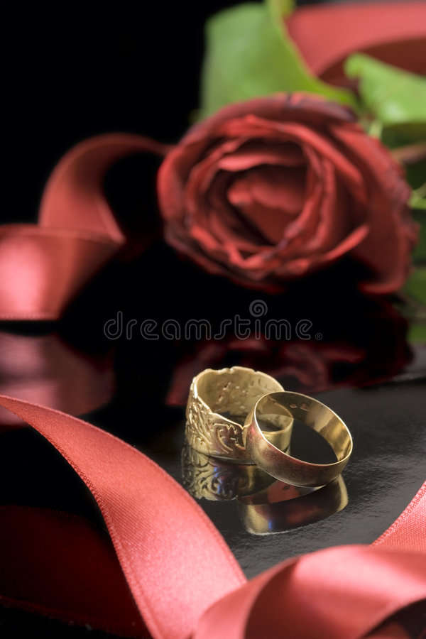 Wedding rings and a rose stock images
