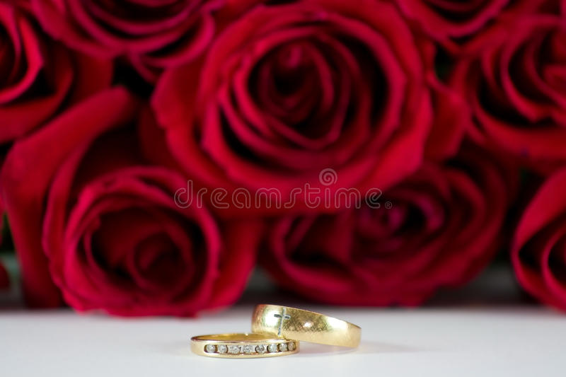 Wedding Rings And Roses. Stock Photography