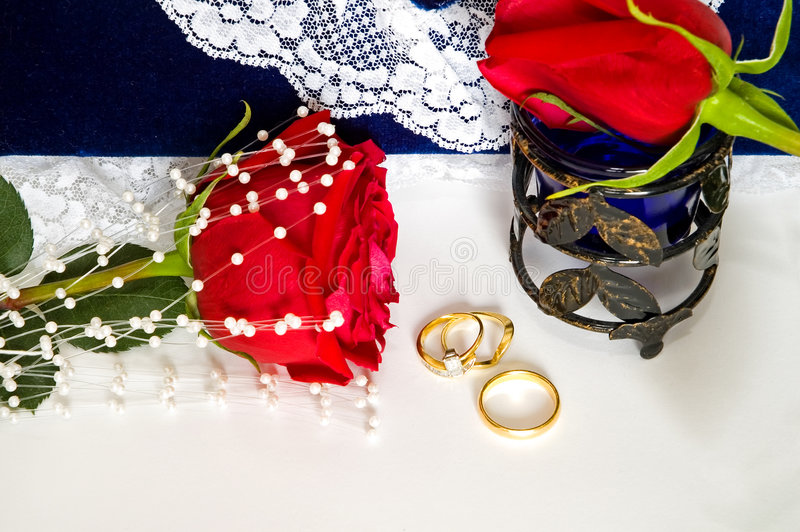 Wedding Rings and Roses-2 stock image