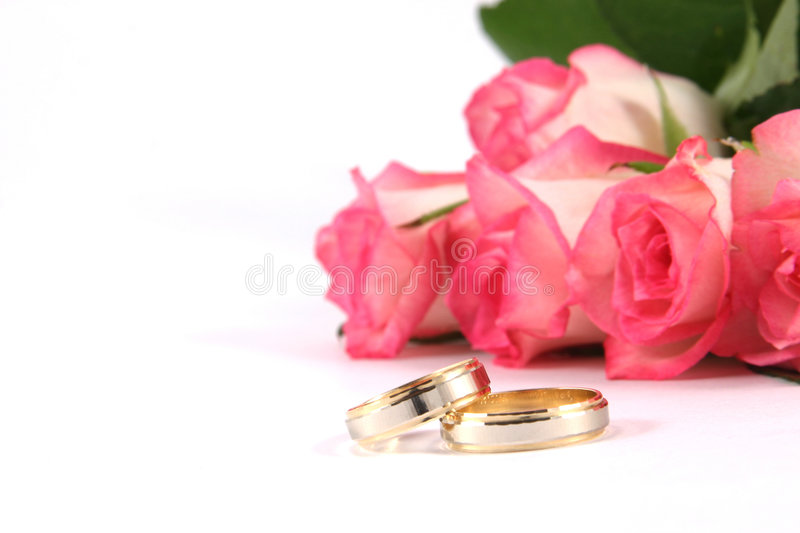 Wedding rings and roses stock image Image of precious 2965449