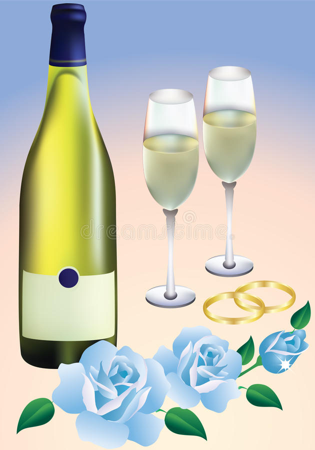 Wedding rings, roses and champagne. stock illustration
