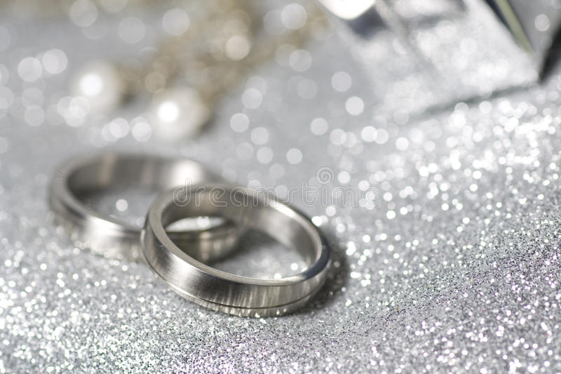 Wedding rings in silver royalty free stock photography
