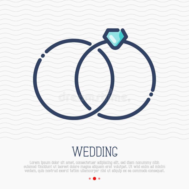 Wedding rings thin line icon, marital status royalty free illustration
