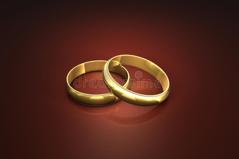 Wedding Rings. Two gold wedding rings. Rings isolated light on a dark background royalty free illustration