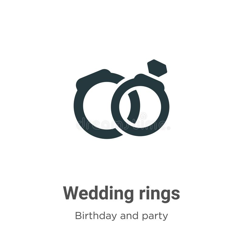Wedding rings vector icon on white background. Flat vector wedding rings icon symbol sign from modern birthday and party. Collection for mobile concept and web royalty free illustration