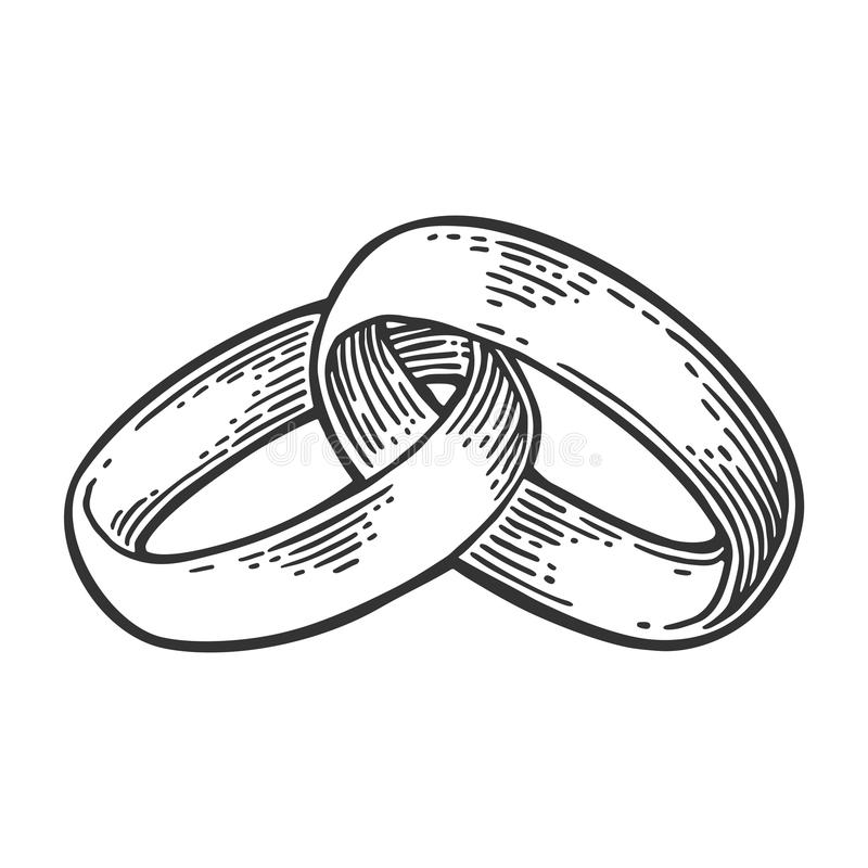 Wedding rings. Vintage black vector engraving illustration. Wedding rings. Hand drawn in a graphic style. Vintage black vector engraving illustration for info royalty free illustration