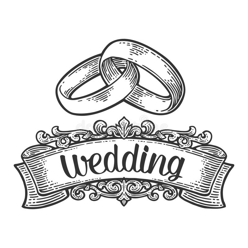 Wedding Rings Vintage Black Vector Engraving Illustration Stock