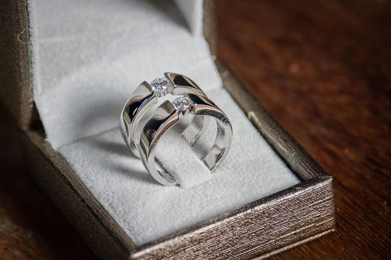 Wedding rings. Vintage picture style stock photo